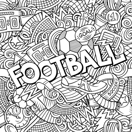 Cartoon griffonnages mignons main football illustration tirée Banque d'images - 99097992