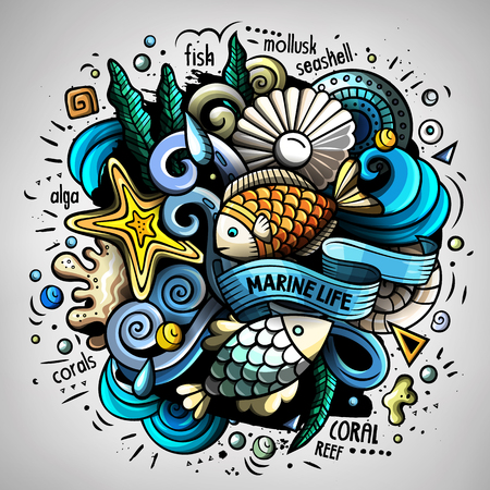 Cartoon vector doodles Underwater world illustration Ilustrace