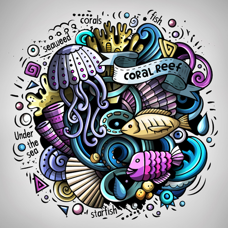 Cartoon vector doodles Underwater world illustration Illustration