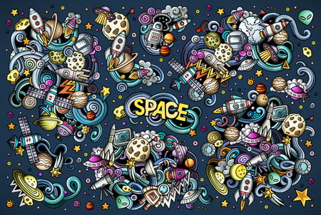 Vector set of space combinations of objects and elements