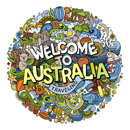 Cartoon cute doodles hand drawn Welcome to Australia inscription