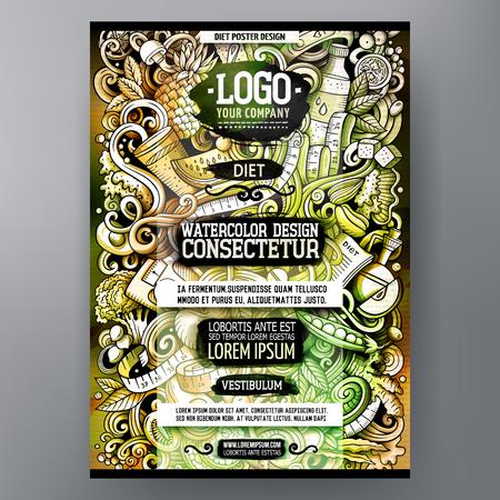 Cartoon watercolor hand drawn doodles Diet food poster design Illustration