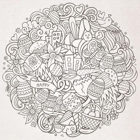 Cartoon vector hand drawn Doodle Happy Easter illustration Иллюстрация