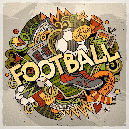 Cartoon cute doodles hand drawn Football illustration