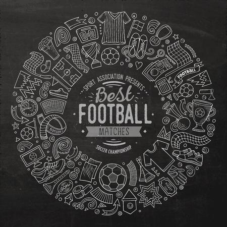 Set of vector cartoon doodle Football objects Ilustração