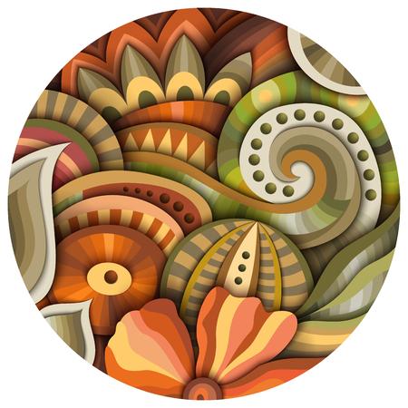 체적 추상 환상적인 다채로운 둥근 꽃 그림 스톡 콘텐츠 - 99096752