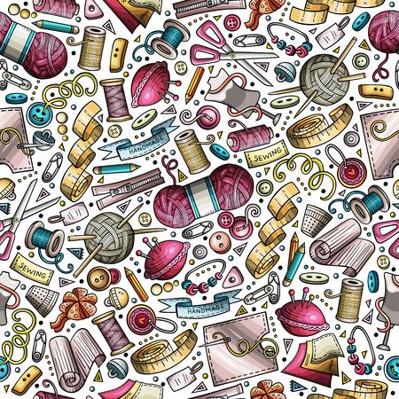 Cartoon cute hand drawn Handmade seamless pattern  イラスト・ベクター素材