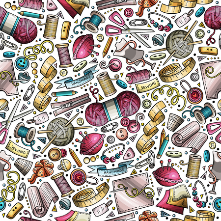Cartoon cute hand drawn Handmade seamless pattern Иллюстрация