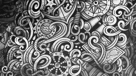 Doodles Nautical illustration. Creative marine background Stock Photo
