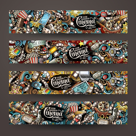 Cartoon cute colorful vector hand drawn doodles Cinema corporate identity. 4 horizontal banners design. Templates set. All objects separate