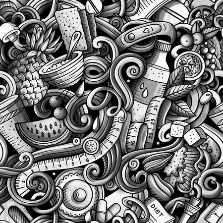 Cartoon cute doodles hand drawn Diet food seamless pattern Stock Vector - 99260109