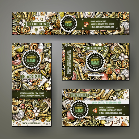 Corporate Identity vector templates set design with doodles hand drawn Diet food theme. Colorful banner, id cards, flayer design. Templates set
