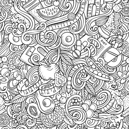 Dessin animé mignon doodles dessinés à la main modèle sans couture de nourriture diététique. Dessin au trait détaillé, avec beaucoup d'arrière-plan d'objets. Illustration vectorielle drôle sans fin. Tous les objets se séparent.