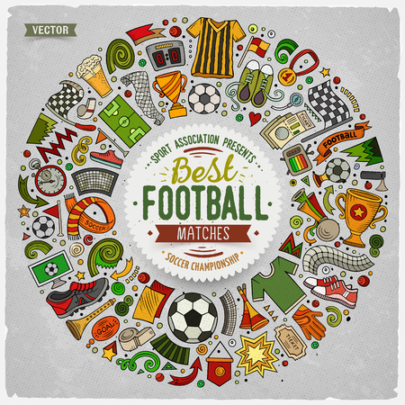 Set of vector cartoon doodle Football objects collected in a round border