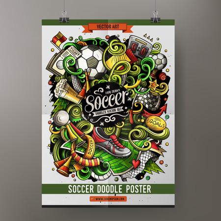 Cartoon vector hand drawn doodles Soccer poster template Çizim