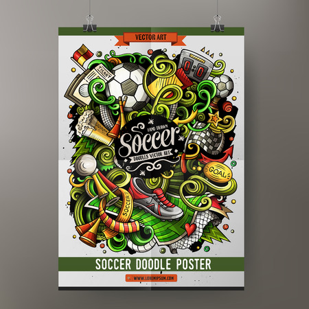 Cartoon vector hand drawn doodles Soccer poster template Illustration
