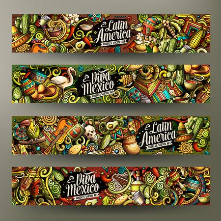 Cartoon vector doodles Latin America horizontal banners Vettoriali