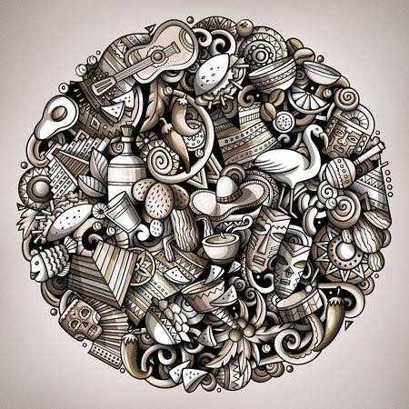 Cartoon vector doodles Latin America illustration Illustration