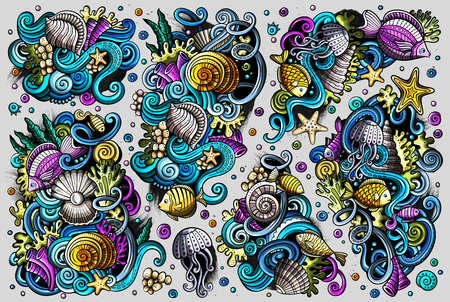 Vector set of sealife combinations of objects and elements Ilustração