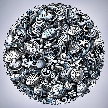 Cartoon vector doodles Underwater world illustration Vectores