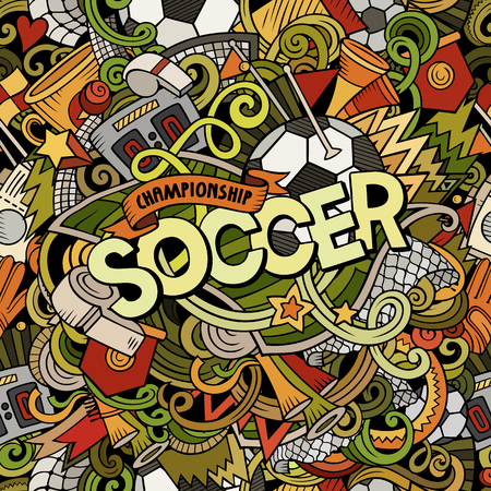 Cartoon cute doodles hand drawn Soccer illustration