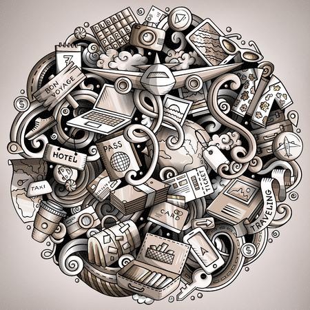 Cartoon vector doodles Travel illustration design. Illustration