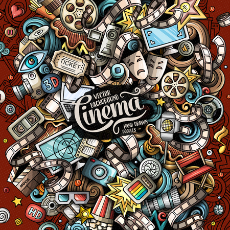 Cartoon vector doodles Cinema illustration. Colorful, detailed, with lots of objects background. All objects separate. Bright colors Movie funny picture