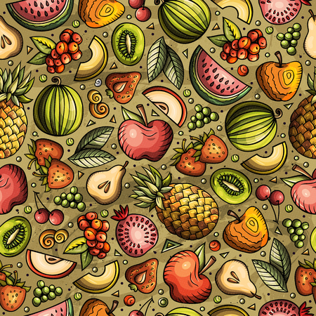 Cartoon hand-drawn Diet food seamless pattern. Lots of symbols, objects and elements. Perfect funny vector background.