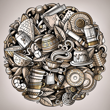 Cartoon vector doodles Tea illustration. Monochrome, detailed, with lots of objects background. All objects separate. Toned Cafe funny round picture