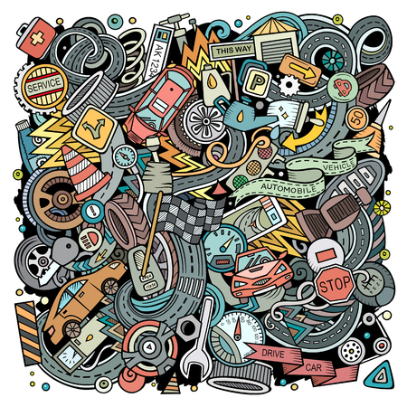 Cartoon vector doodles Automotive illustration. Colorful, detailed, with lots of objects background. All objects separate. Bright colors Cars service funny picture