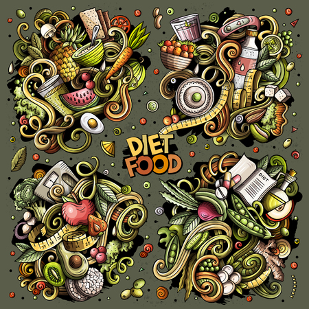 Colorful vector hand drawn doodles cartoon set of Diet food combinations of objects and elements. All items are separate