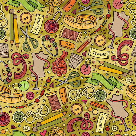 Cartoon cute hand drawn Handmade seamless pattern. Colorful detailed, with lots of objects background. Endless funny vector illustration