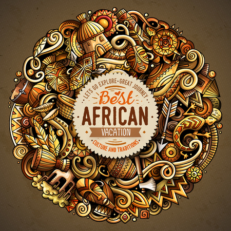 Cartoon vector doodles Africa round illustration. Colorful, detailed, with lots of objects background. All objects separate. Bright colors african culture funny picture