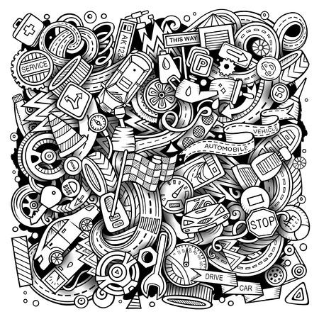 漫画ベクトル落書き自動車イラスト。線画、詳細、オブジェクトの背景の多くを持つ。すべてのオブジェクトが分離されます。スケッチ車サービス