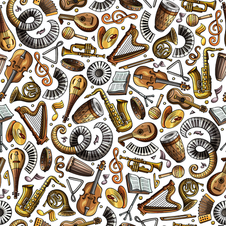 Cartoon hand-drawn Classic music seamless pattern Illusztráció