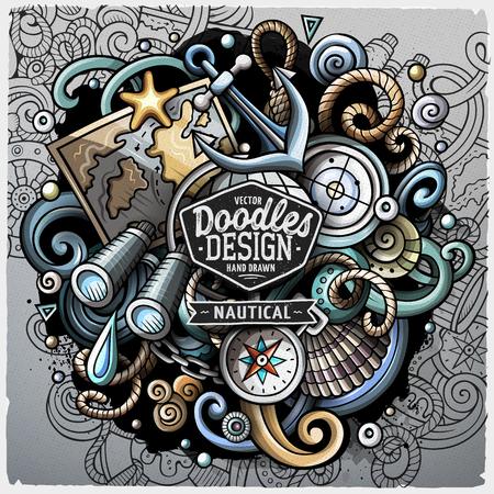 Nautical cartoon vector doodle illustration.