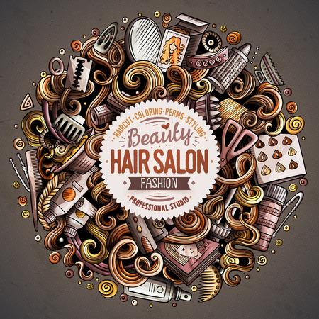 Cartoon cute doodles hand drawn Hair salon vector illustration