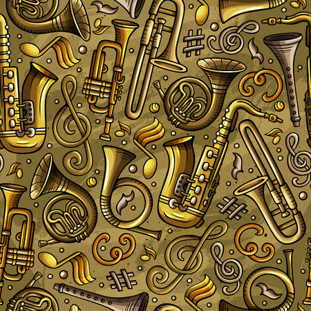 Cartoon hand-drawn Classic music seamless pattern 일러스트