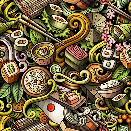 漫画かわいい落書き手描きジャパンフードシームレスパターン。オブジェクトの背景の多くで、カラフルな詳細。