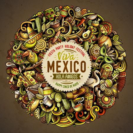 Cartoon vector doodles Latin America illustration.