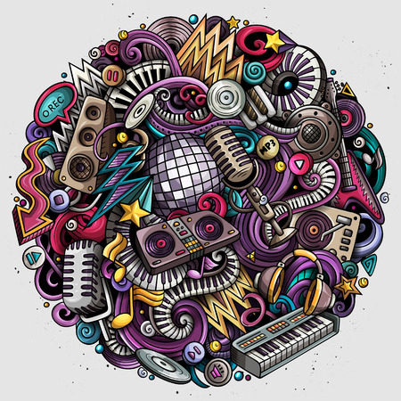 Cartoon vector doodles disco music illustration.