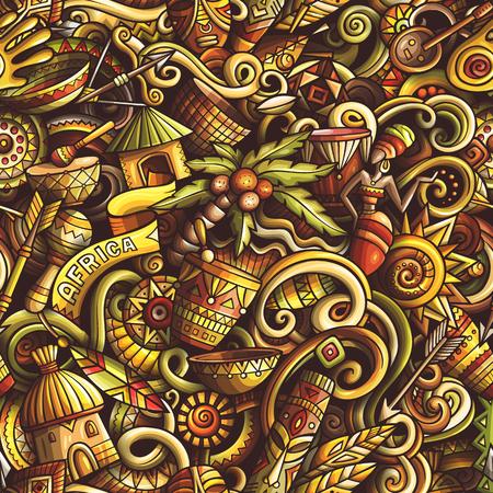 Cartoon cute doodles hand drawn Africa seamless pattern.