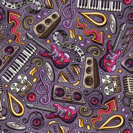 Cartoon hand-drawn Disco music seamless pattern.