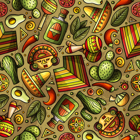 Cartoon hand-drawn Latin american, Mexican seamless pattern.