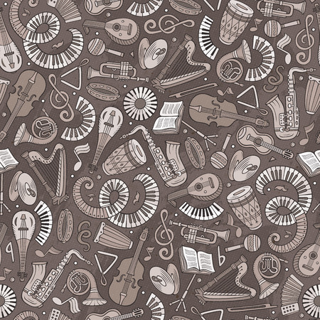 Cartoon hand-drawn Classic music seamless pattern. Lots of symbols, objects and elements. Perfect funny vector background. 일러스트