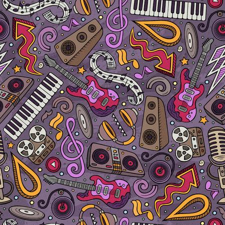 Cartoon hand-drawn Disco music seamless pattern Ilustrace