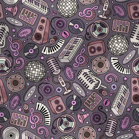 Cartoon hand-drawn Disco music seamless pattern. Lots of symbols, objects and elements. Perfect funny vector background.