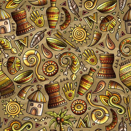 Cartoon cute hand drawn African seamless pattern