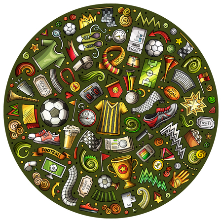 Set of vector cartoon doodle Football objects collected in a circle. Soccer subjects collection Illustration