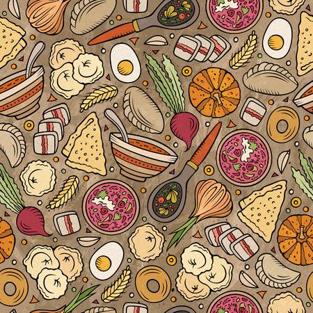 Cartoon hand-drawn Russian food seamless pattern